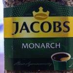 4 вида кофе якобс монарх:  в зернах, растворимый, милликано, кронинг   горячая чашка