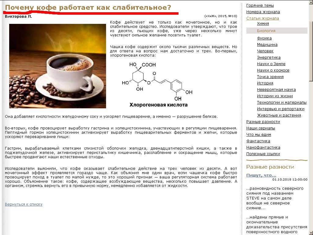 Как кофеин действует на кишечник, и почему после кофе хочется в туалет