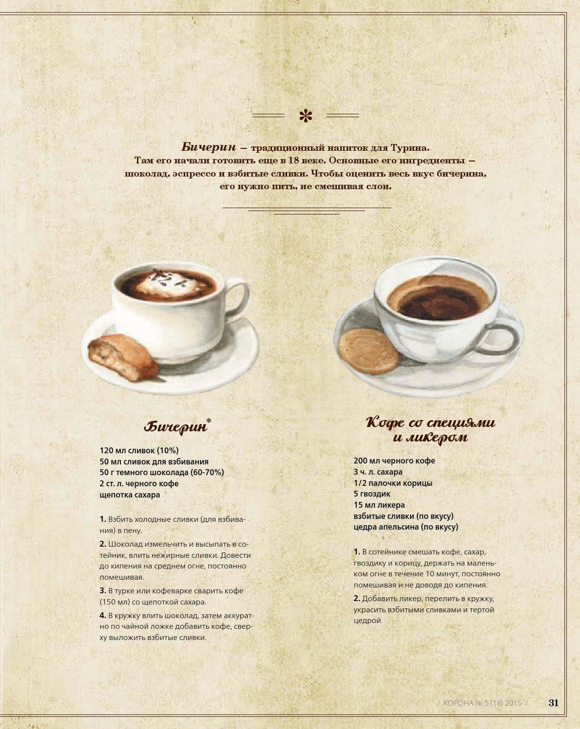 Кофе бичерин: происхождение, приготовление и подача