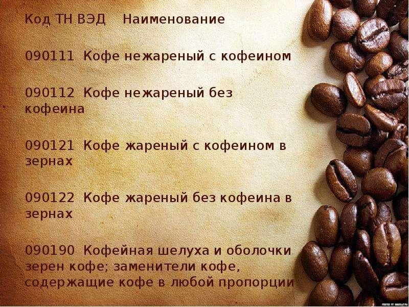 Марки кофе: в зернах, молотого, (не)растворимого, без кофеина и др.