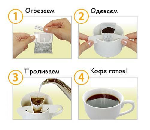 Разновидности порционного кофе в пакетиках и особенности заваривания