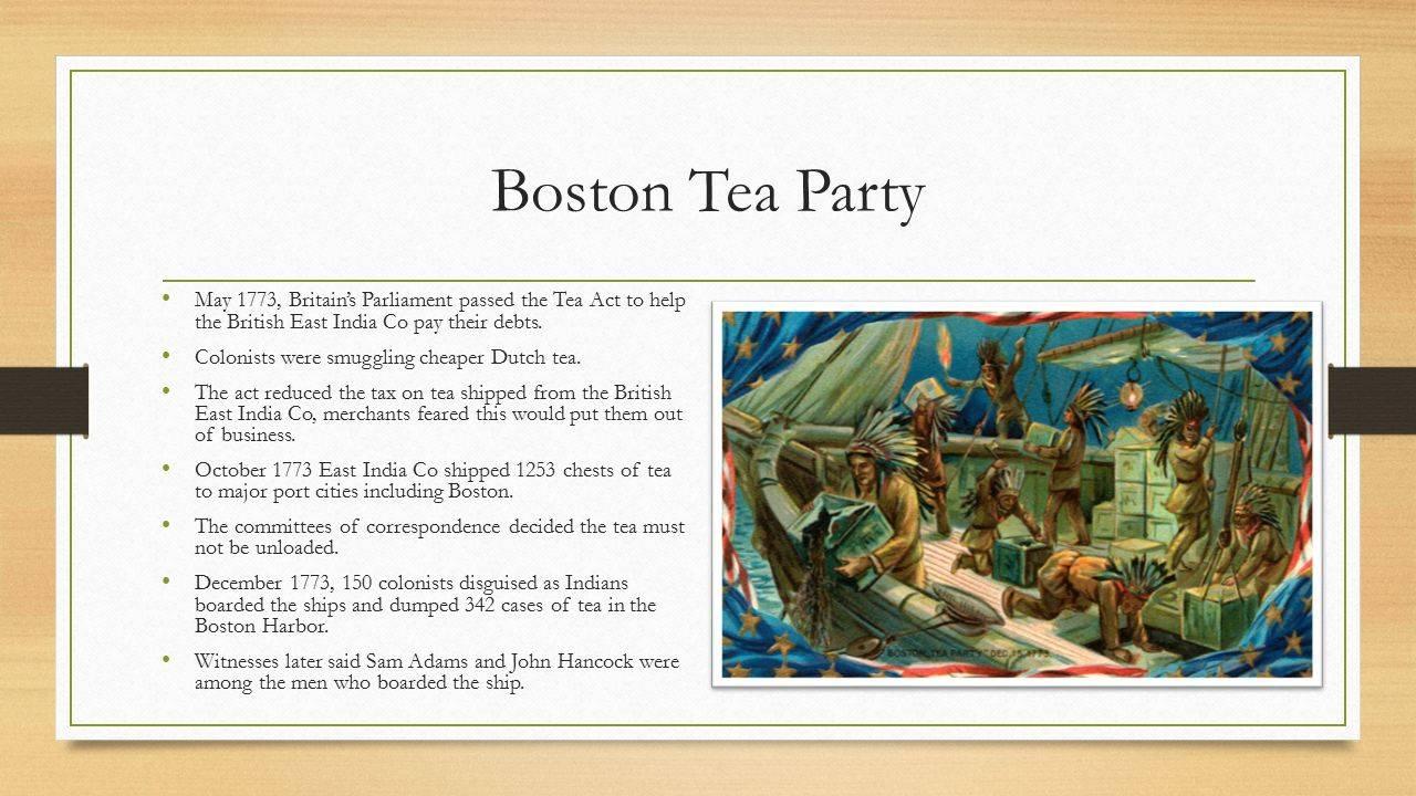 Бостонское чаепитие 1773 г: краткое описание исторического события