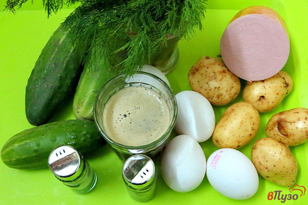 Окрошка классическая на квасе с колбасой   пошаговый рецепт с фото