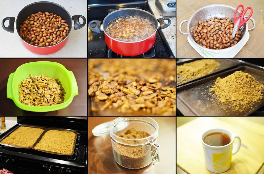 Заменители кофе и кофейные напитки, рецепты желудевого кофе, кофе из корней одуванчика, цикорного кофе, зернового кофе из всех злаков и бобовых, кофе из орехов.
