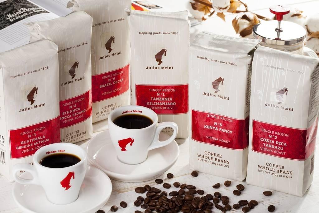 Кофе julius meinl в зернах, ассортимент продукции юлиус майн