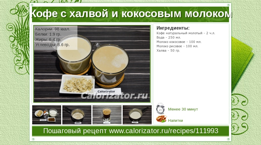 Рецепт зелёный коктейль с кокосом. калорийность, химический состав и пищевая ценность.
