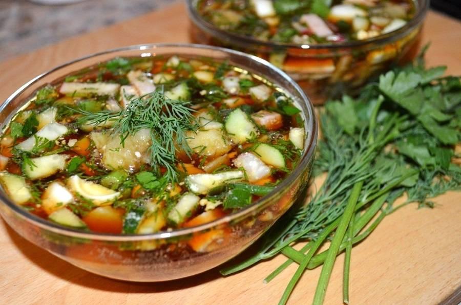 Окрошка на квасе с колбасой – 10 рецептов классической окрошки с пошаговыми фото