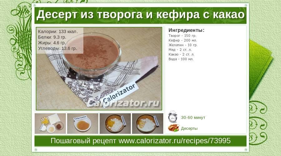 Калорийность какао порошка: с молоком, сахаром – бжу, химический состав