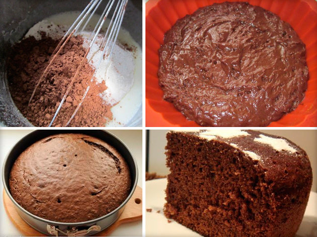 Шоколадный бисквит с какао для торта рецепт с фото пошагово и видео - 1000.menu