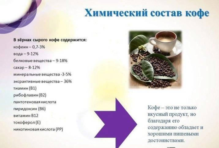 Что содержит зерно кофе? состав до и после обжига.