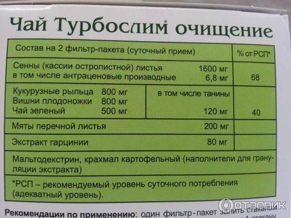 Чай турбослим очищение для похудения: свойства, состав - минус 5 кг легко - похудейкина