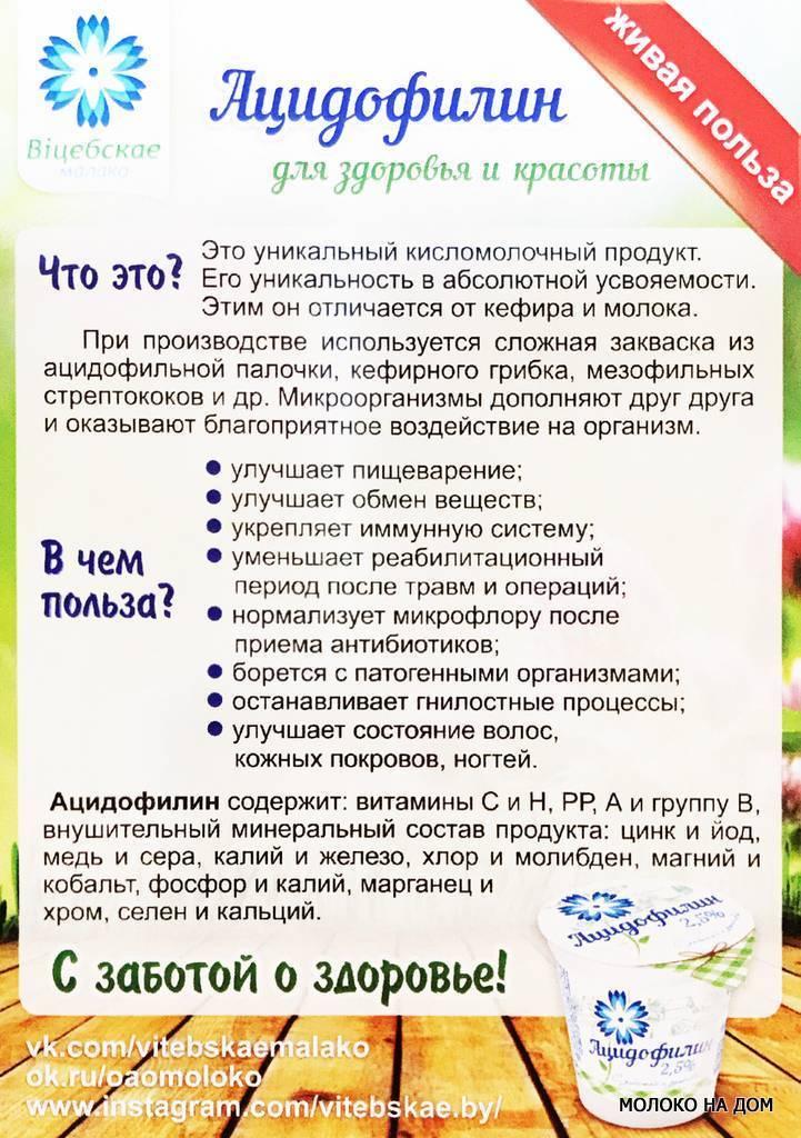 Ацидофилин - свойства кисломолочного продукта и его польза
