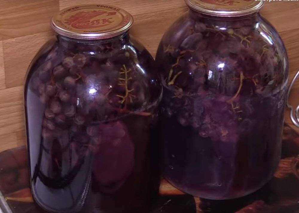 Компот из винограда на зиму на 3 литровую банку - 5 лучших рецептов
