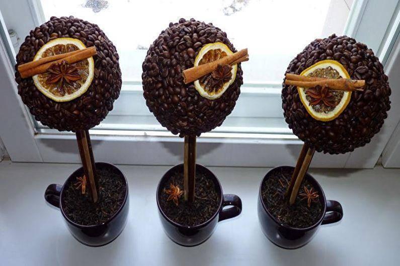 Бонсай топиарий ёлка мастер-класс моделирование конструирование кофейное дерево мастер класс кофе материал природный