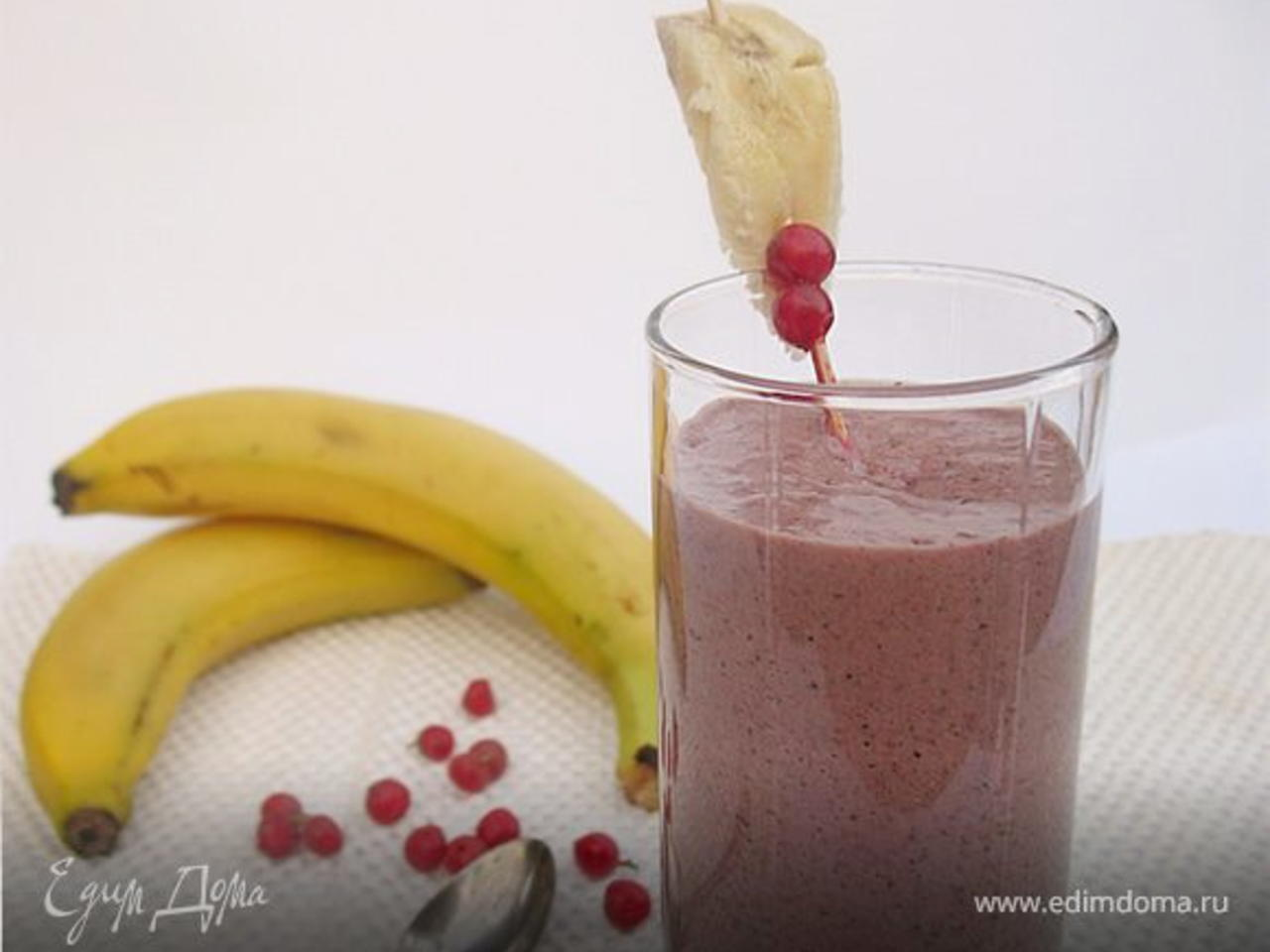 Ягодно-банановый смузи (с финиками и семенем льна)   вкусно и полезно (vip)