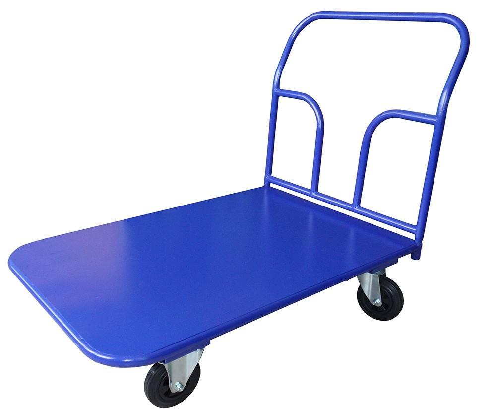 Тележка платформенная четырехколесная: складская гидравлическая платформа на колесах