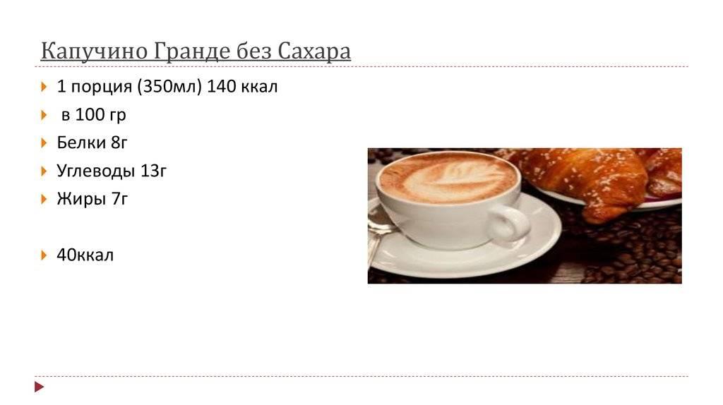 Сколько калорий в чашке кофе с молоком: таблица калорийности