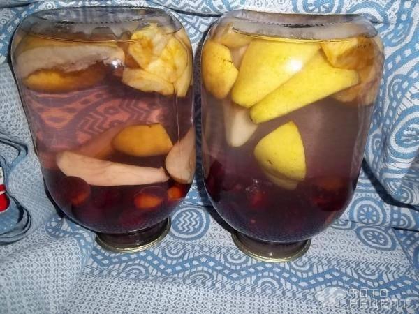 Яблочно-грушевый компот на зиму — пошаговый рецепт с фото