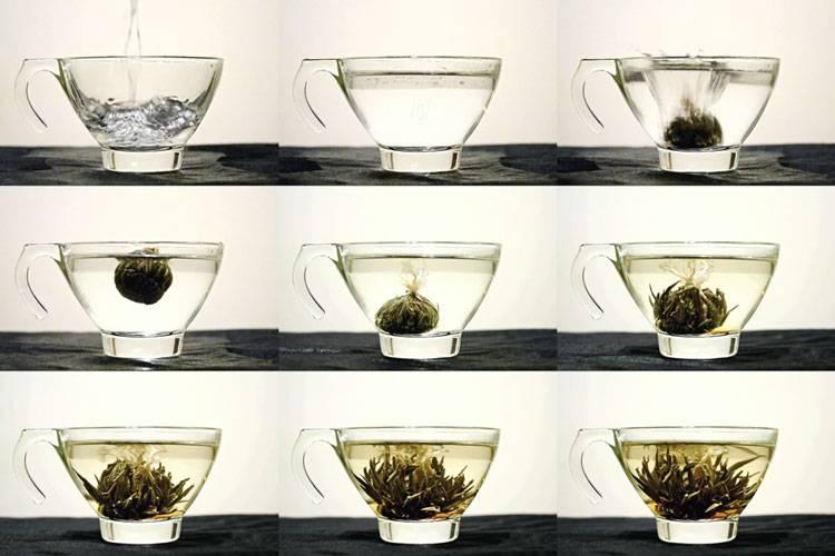 Связанный чай — распускается как цветок