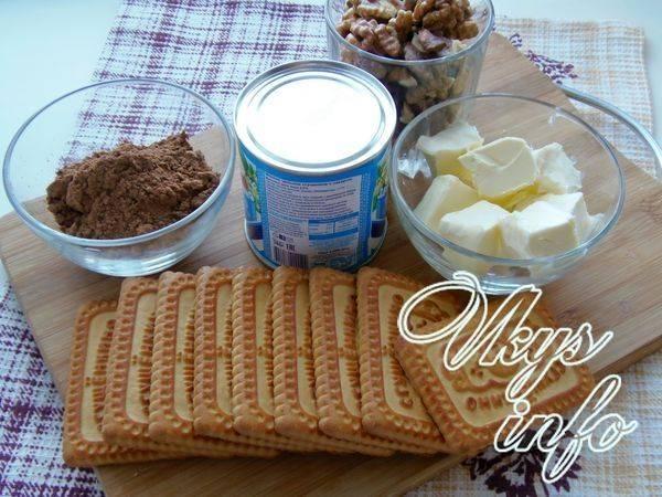 Классическая шоколадная колбаска из печенья и какао  со сгущенкой
