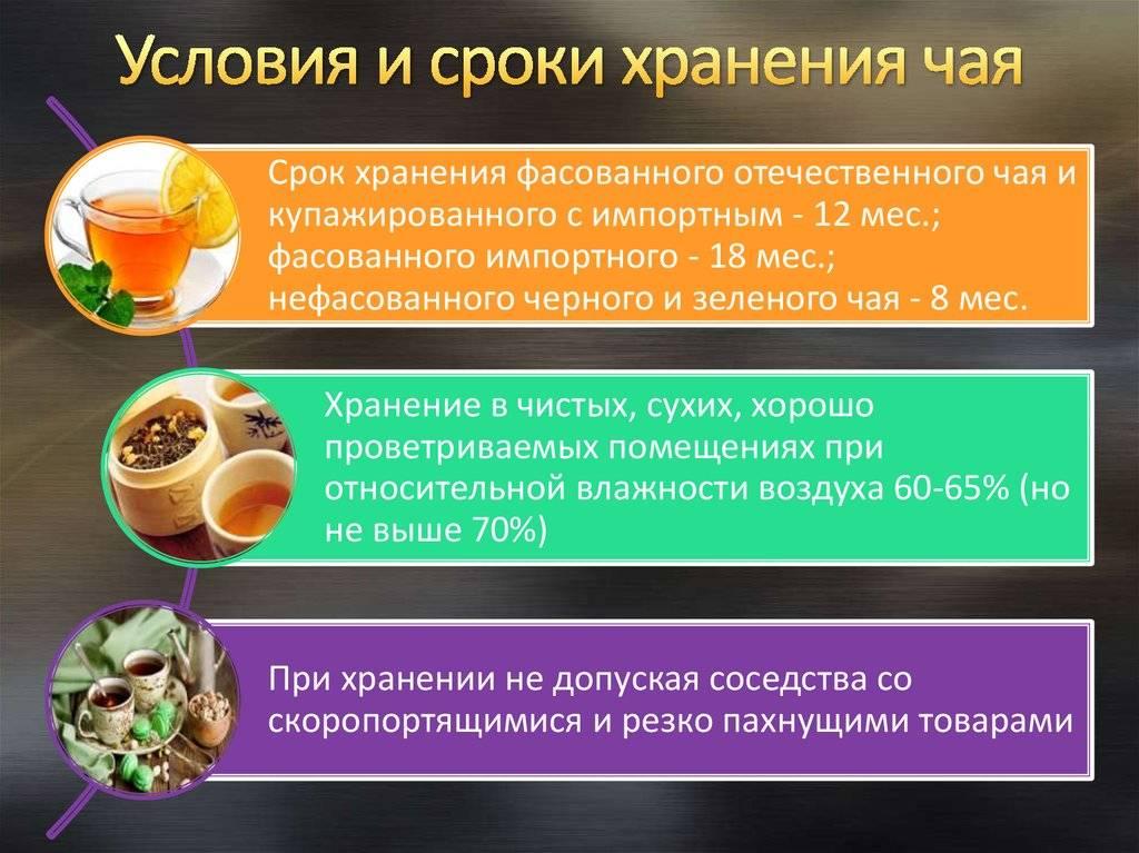 Срок годности и условия хранения чая: листового, зеленого в пакетиках, в железной банке