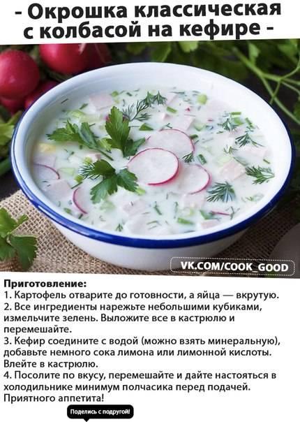 Окрошка – классический простой рецепт с колбасой