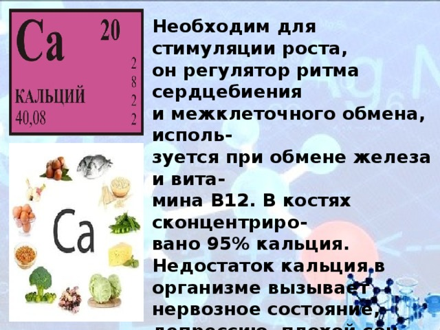 Кальций — в чём он содержится, в каких продуктах, роль в организме