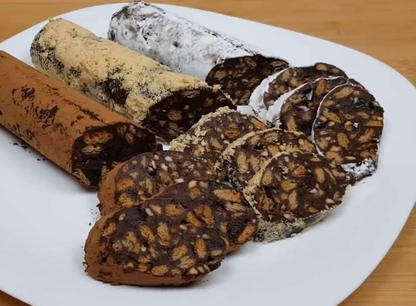 Сладкая шоколадная колбаска из печенья со сгущенкой