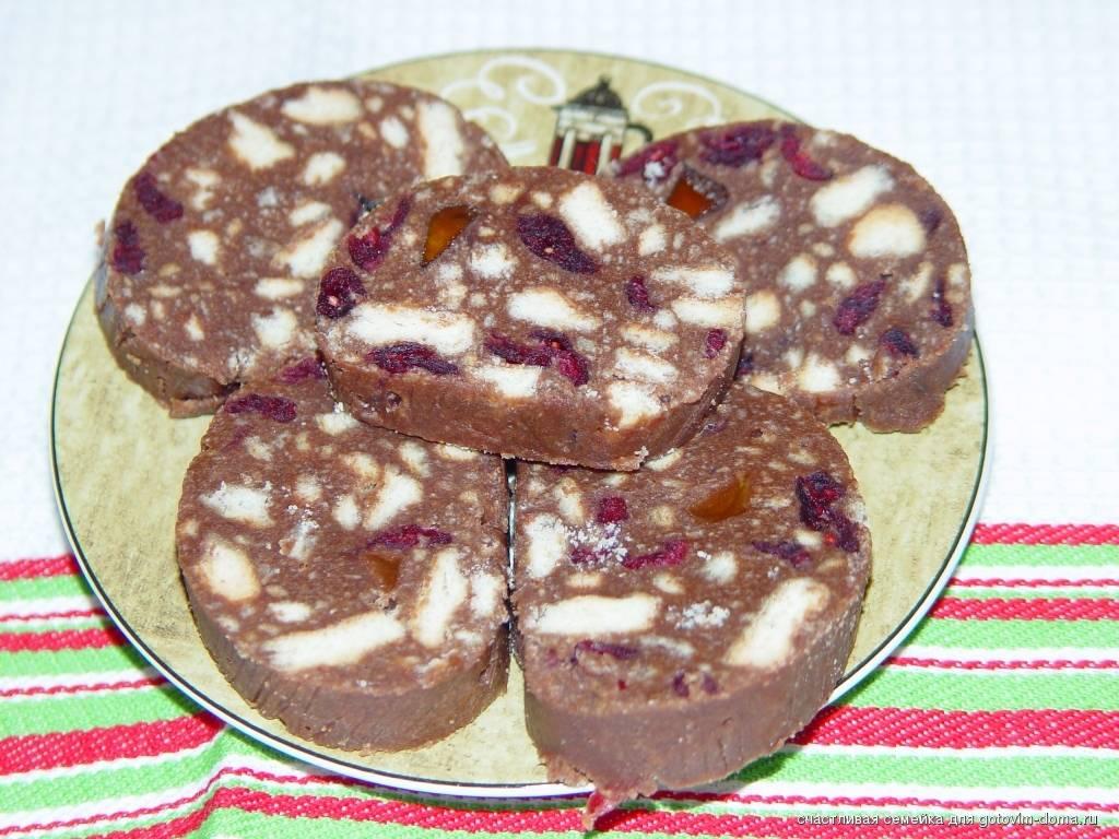 Рецепт шоколадной колбасы из печенья и какао (пошаговый)