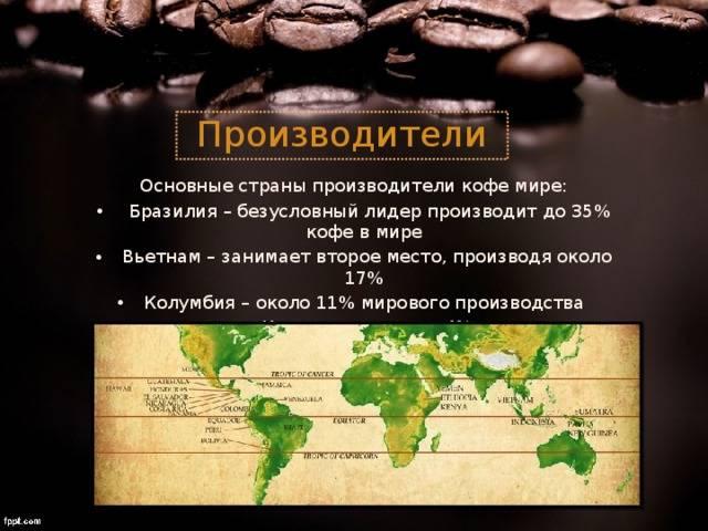 Крупные поставщики кофе мира и россии