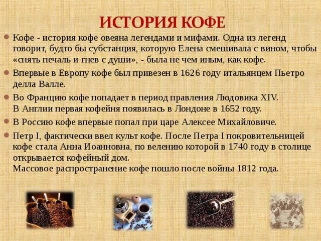 История кофе – золотого напитка