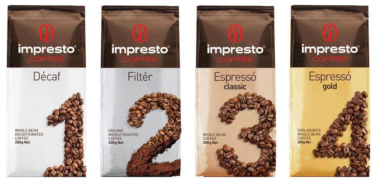 Кофе в зернах impresto roma 1000 гр