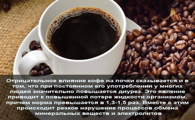 Как кофе влияет на почки: действие растворимого и натурального кофе, можно ли пить при камнях