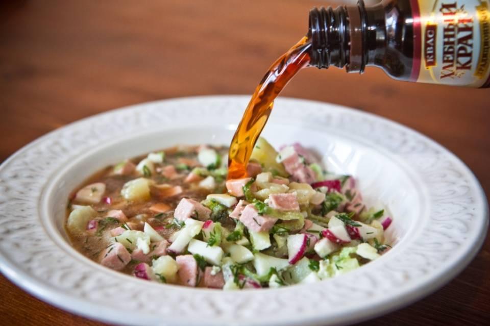 Окрошка на квасе — 8 классических рецептов окрошки с колбасой и не только